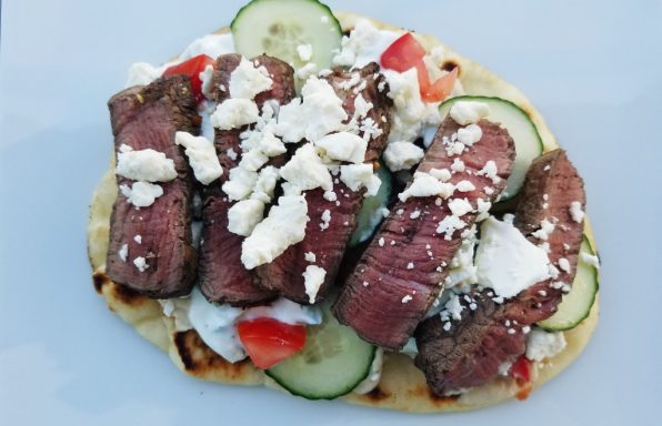 Wild Garden Steak Shawarma Naan Pizza